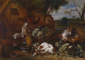 Boerenerf met een boer en een slapende hond bij jachtbuit, groenten en keukengerei