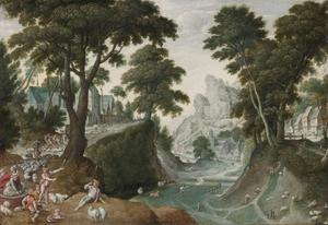Berglandschap met de terugkeer van Jacob uir Kanaän (Gen 29: 1-11)