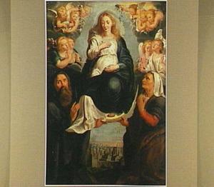 De verheerlijking van de Maagd, omringd door engelen door twee stichters