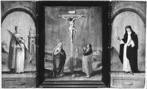 Drieluik met de gekruisigde Christus, geflankeerd door de H. barbara (links) en Catharina vanSiëna (rechts)