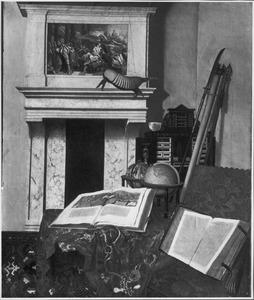 Interieur met een verzameling rariteiten met onder meer een kunstkastje, een opgezet gordeldier en een opgerolde landkaart