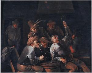 Vrolijk boerengezelschap rondom een vat  in een herberg
