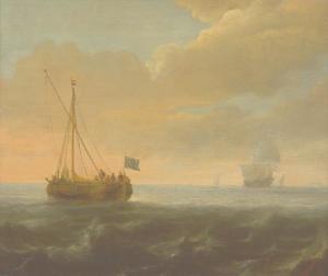Een eenmaster op kalme zee