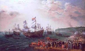 Het vertrek van Frederik V van de Palts, koning van Bohemen (1596-1632) en Elizabeth Stuart(1596-1662)  in Margate op 25 april 1613, op de voorgrond James I en Anna van Denemarken
