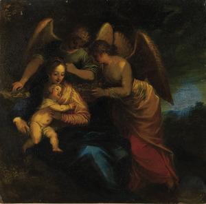 Maria en kind, omgeven door engelen
