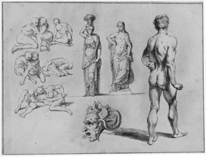 Worstelaars, standbeeld, naakte man