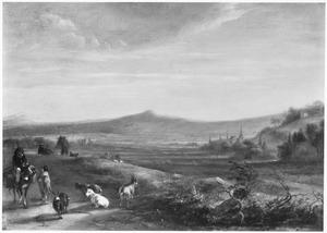 Heuvellandschap met herders, geiten en ezelrijder