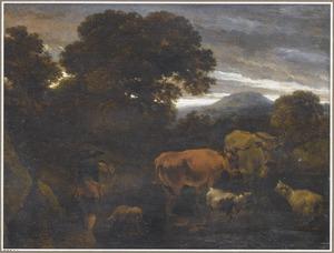 Boslandschap met een herder en zijn vee bij een beek