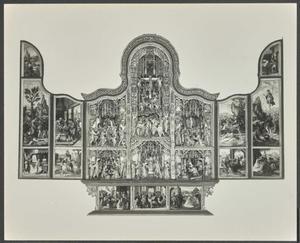 Christus in Gethsemane, de gevangenneming, Christus voor Pilatus, de annunciatie, de visitatie (binnenzijde linkerluik); De aanbidding der herders, de besnijdenis, de aanbidding der Wijzen, de kruisdraging, de kruisiging, de bewening (middendeel); De kindermoord, de vlucht naar Egypte, de graflegging , de opstanding, Christus verschijnt aan Maria (binnenzijde rechterluik)