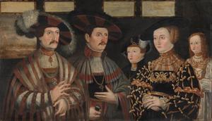 Familieportret van Pfalzgraf Ludwig II. von Zweibrücken-Veldenz (1502-1532) met zijn familie en zijn broer  Ruprecht von Pfalz-Veldenz (1506-1544)