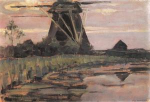 Oostzijdse mill viewed from downstream with streaked pinkish-blue sky