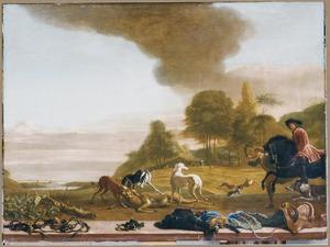 Landschap met jagers en honden en een hert; op de voorgrond een paardenbit, sporen, rijlaarzen, een geweer, een zadeldek, een zadel en een zweep
