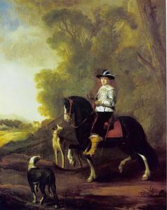 Portret van een ruiter en twee honden