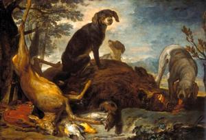 Drie honden in een landschap bij een buit van hert, everzwijn en gevogelte