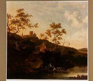 Rivierlandschap met veerboot; in de verte een herberg en een kasteel