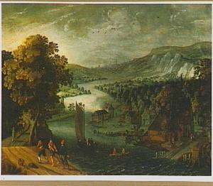 Panoramisch rivierlandschap met vissers