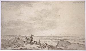 Duinlandschap met figuren, naar een zeeslag kijkend