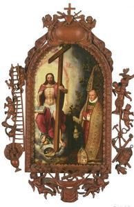 Robert Holman, abt van de abdij Onze-Lieve-Vrouw ter Duinen, in aanbidding voor Christus als Salvator Mundi