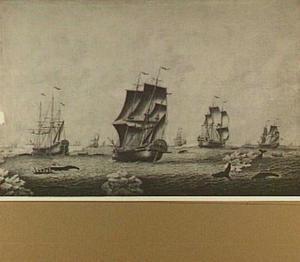 Walvisvaarders in bedrijf; centraal de walvisvaarder de 'Schielant'