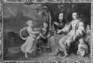 Portret van Gerbrand Molenaer (....-1703), Elisabeth de Jager (....-1719) en vier kinderen