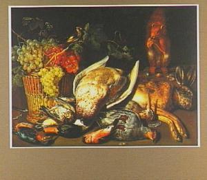 Stilleven met een mand met druiven, jachtbuit en een eekhoorn