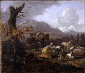 Zuidelijk landschap met geit melkende vrouw
