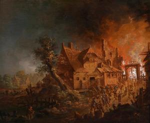 Nachtelijke brand in een stad