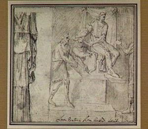 Tronende vorst en fragment van draperie (van een antiek sculptuur?)
