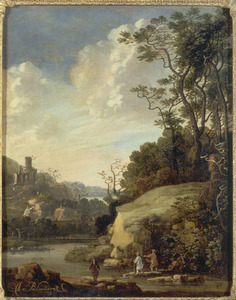 Heuvellandschap met figuren bij een rivier