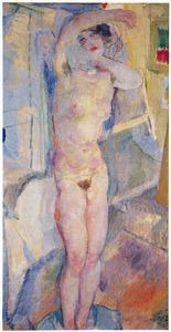 Staande vrouw in het bad