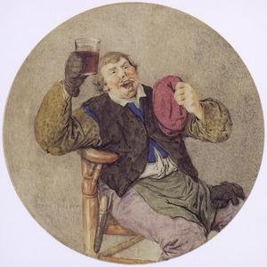 Wijndrinkende zittende man (de Smaak?)
