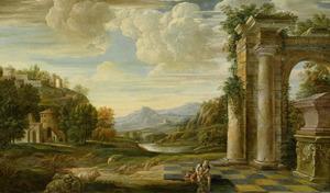 Zuidelijk landschap met een klassieke ruine en een badende herder