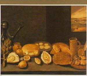 Stilleven van oesters, brood en artisjokken