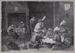 Dierensatire met etende, drinkende en rokende apen in een interieur