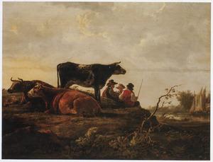 Landschap met vee en herders op een weide aan een rivier