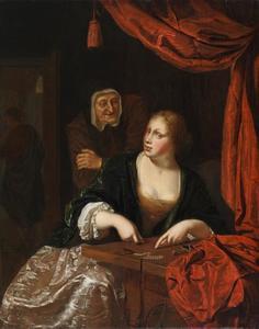 Geldtellende courtisane met haar koppelaarster