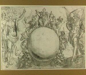 Ontwerp voor een titelpagina met Diana, Apollo, de Zeven Deugden en de Tijd