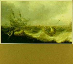 Driemaster en visserschip in een storm op zee
