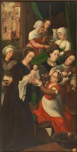 De geboorte van Maria. In de achtergrond de presentatie van Maria in de tempel