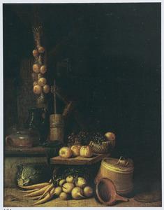Stilleven van vaatwerk en groente in een interieur