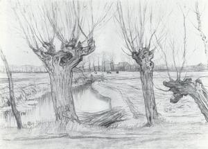 Three pollarded willows, irrigation ditch and farmstead in the distance