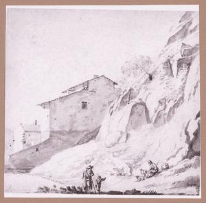 Huizen bij een rots en figuren