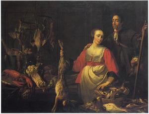 Keukenstuk met de portretten van Adriaen en Constancia van Utrecht