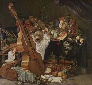 Rijk stilleven met muziekinstrumenten en vruchten