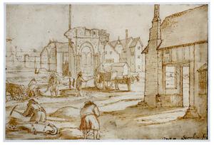 Gravende mannen bij de ruïne van een gotische kerk