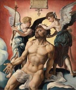 Christus als Man van Smarten met engelen