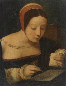 Schrijvende jonge vrouw met een inktpot in haar linkerhand