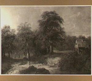Landschap met beek bij een huis