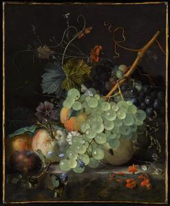 Vruchtenstilleven op een marmeren tafel