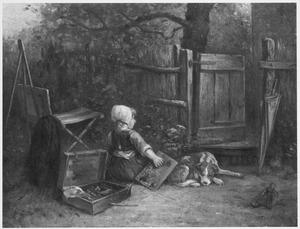 Meisje met schildersdoos en hond voor een hek